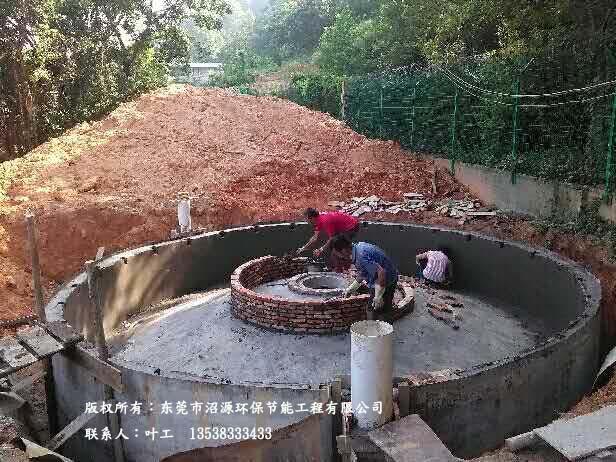 100立方地埋式沼气工程开工建设清远某养殖场